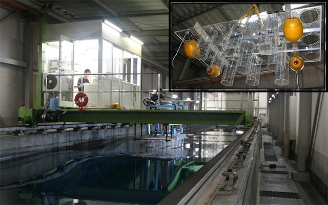 マルチカラム型波力発電の水槽実験