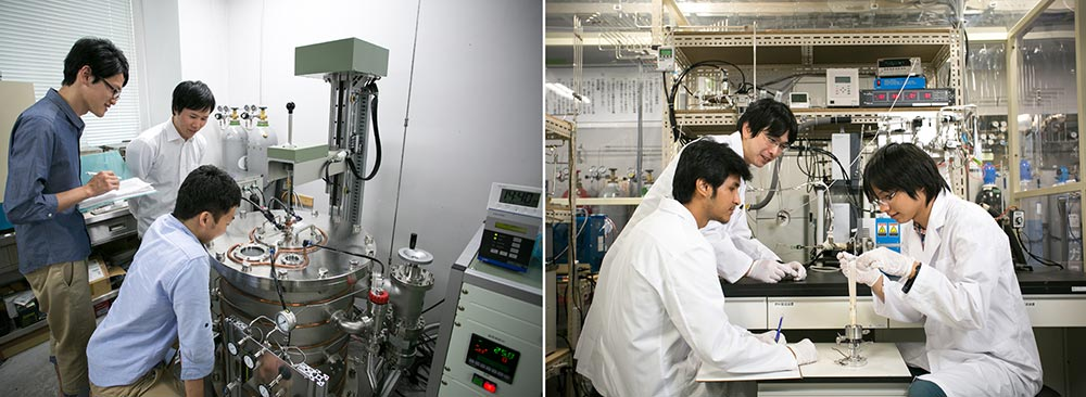 (左)熱を電力に変換できる半導体単結晶作製,(右)燃料電池試料の取り付け