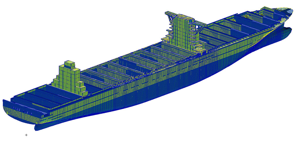 Full ship-structural model for numerical analysis